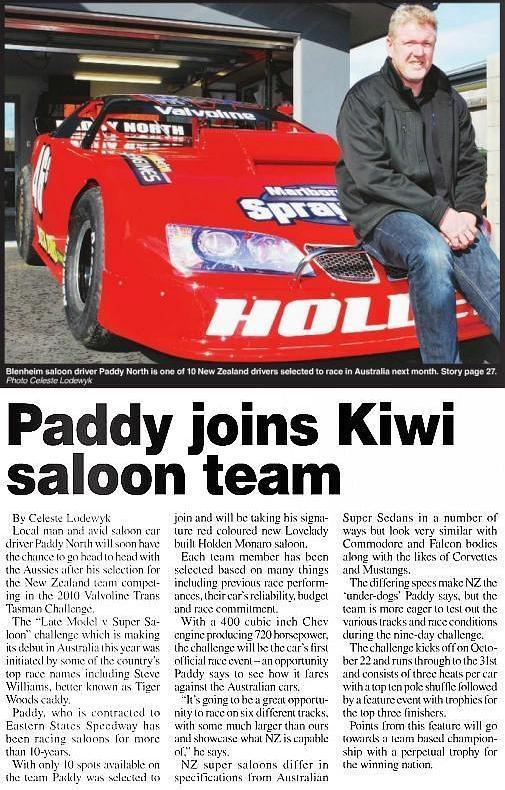 Paddy joins Kiwi saloon team